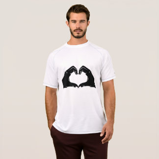 Heart Shape Hands Illustration with black hearts T-Shirt