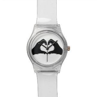 Heart Shape Hands Illustration with black hearts Watches