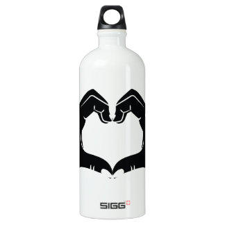 Heart Shape Hands Illustration with black hearts Water Bottle