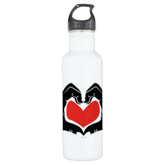 Heart Shape Hands Illustration with red hearts 710 Ml Water Bottle