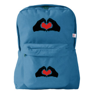 Heart Shape Hands Illustration with red hearts Backpack