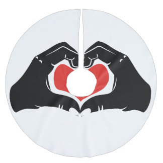 Heart Shape Hands Illustration with red hearts Brushed Polyester Tree Skirt