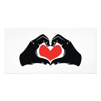 Heart Shape Hands Illustration with red hearts Custom Photo Card