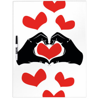 Heart Shape Hands Illustration with red hearts Dry-Erase Whiteboards