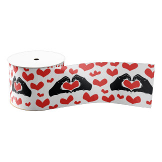 Heart Shape Hands Illustration with red hearts Grosgrain Ribbon