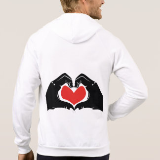 Heart Shape Hands Illustration with red hearts Hoodie