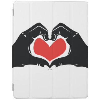 Heart Shape Hands Illustration with red hearts iPad Cover