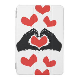Heart Shape Hands Illustration with red hearts iPad Mini Cover