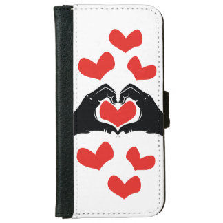 Heart Shape Hands Illustration with red hearts iPhone 6 Wallet Case