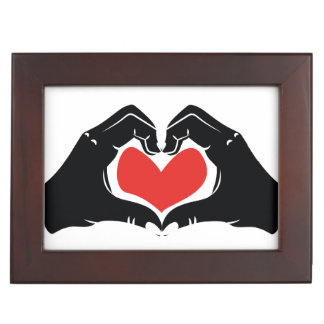 Heart Shape Hands Illustration with red hearts Keepsake Box