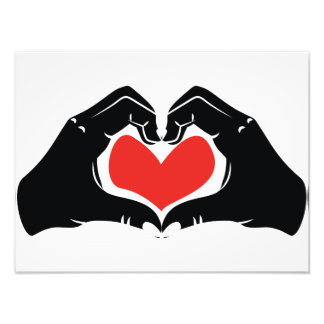 Heart Shape Hands Illustration with red hearts Photo Art