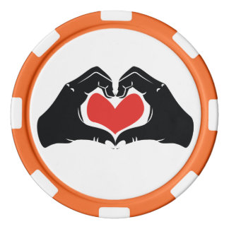 Heart Shape Hands Illustration with red hearts Poker Chips