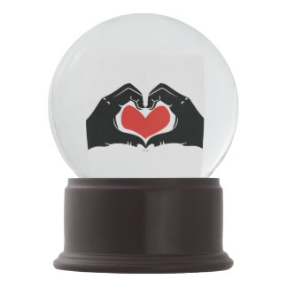Heart Shape Hands Illustration with red hearts Snow Globes