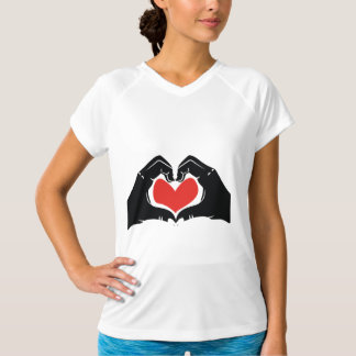 Heart Shape Hands Illustration with red hearts T-Shirt