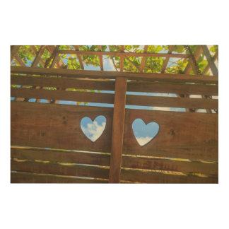 Heart shape in a fence, Belize Wood Wall Art