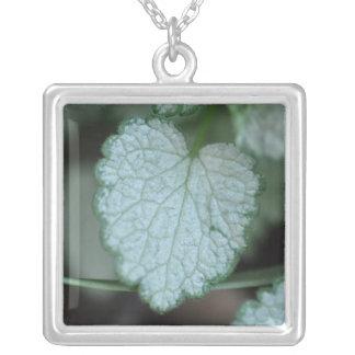 Heart Shape Leaf Square Pendant Necklace