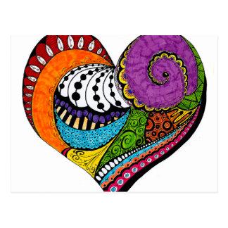 Heart shape on postcard - coloured drawin
