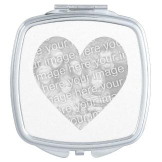 Heart Shape Photo Travel Mirror
