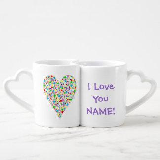 Heart Shape rainbow multi colored Polka Dots Lovers Mug Set