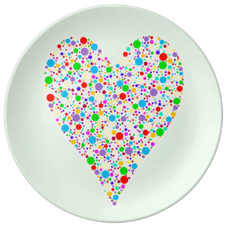 Heart Shape rainbow multi colored Polka Dots Porcelain Plates