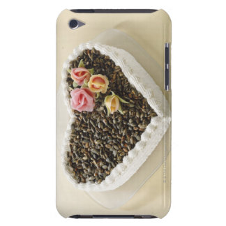 Heart shape wedding cake with flower, close-up barely there iPod covers