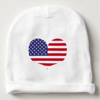 Heart Shaped American Flag Baby Beanie