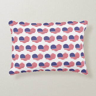 Heart Shaped American Flag Pattern | Accent Pillow