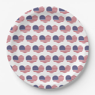Heart Shaped American Flag Pattern Paper Plate
