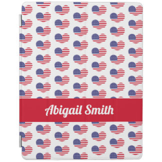 Heart Shaped American Flag Pattern | Personalized iPad Cover
