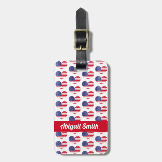 Heart Shaped American Flag Pattern | Personalized Luggage Tag