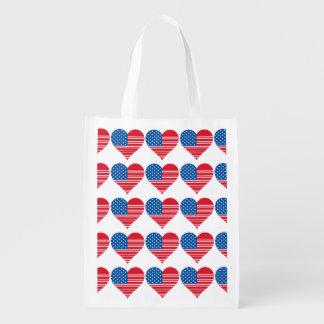 Heart-Shaped American Flag Reusable Bag