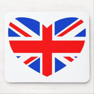 Heart Shaped British Flag Mouse Mats