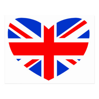 Heart Shaped British Flag Postcards