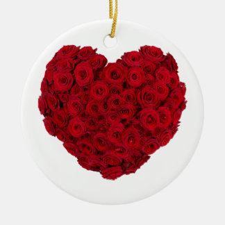 Heart shaped bunch round ceramic ornament