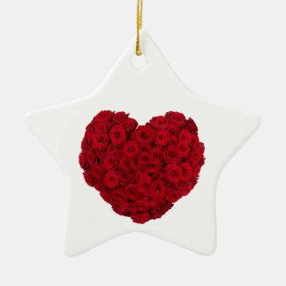 Heart shaped bunch ceramic star ornament