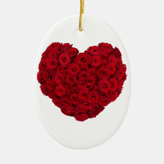 Heart shaped bunch ceramic oval ornament