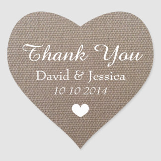 Heart shaped burlap wedding thank you stickers