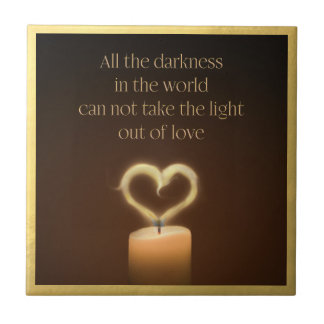 Heart-Shaped Candle Flame Ceramic Tile