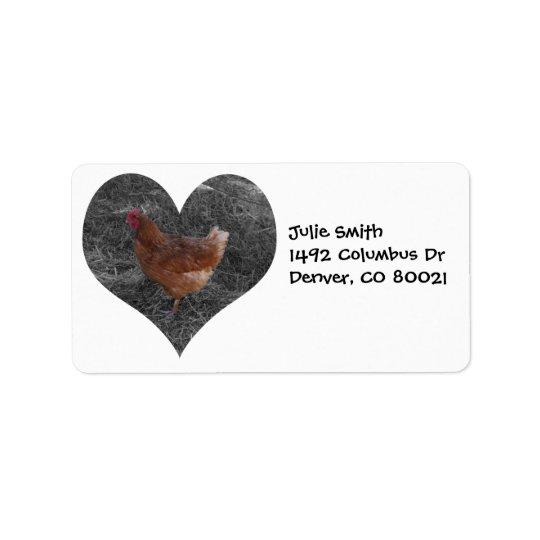 Heart Shaped Chicken Address Label