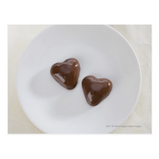 Heart shaped chocolate candies on a plate postcard