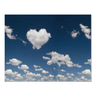Heart shaped cloud 11 cm x 14 cm invitation card