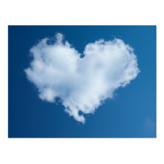 Heart-shaped cloud in blue sky card postcard