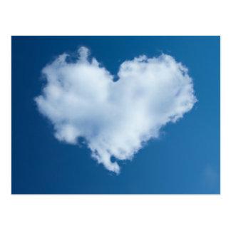 Heart-shaped cloud in blue sky card postcard