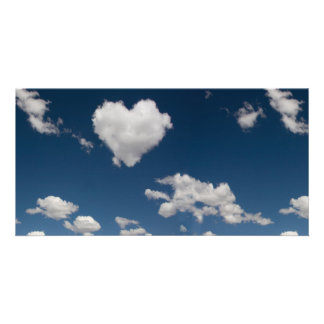 Heart shaped cloud picture card