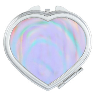 Heart Shaped Compact with a rainbow swirl pattern Makeup Mirror
