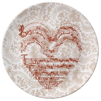 Heart-Shaped Deep Red Medieval Music Manuscript Plate
