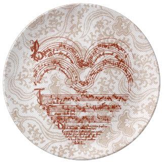 Heart-Shaped Deep Red Medieval Music Manuscript Porcelain Plate