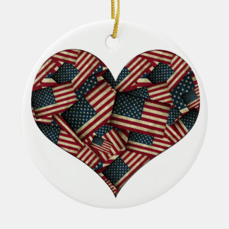 Heart Shaped Distressed American Flags Ceramic Ornament