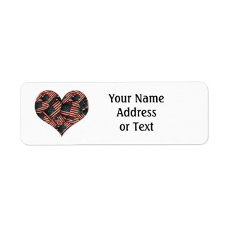 Heart Shaped Distressed American Flags Return Address Label