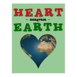 Heart Shaped Earth anagram Postcard